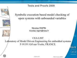Symbolic execution based model checking of open systems with unbounded variables