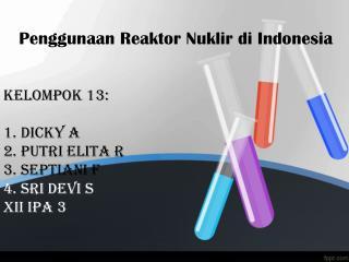 REAKTOR NUKLIR DI INDONESIA Saat ini Indonesia memiliki 3 buah reaktor nuklir :