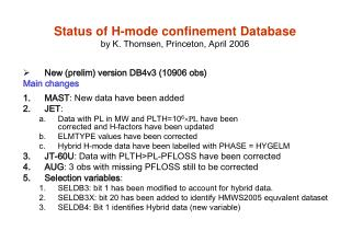 Status of H-mode confinement Database by K. Thomsen, Princeton, April 2006