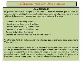 ACRÒNIMOS, ABREVIATURAS Y SIGLAS