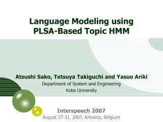 Language Modeling using PLSA-Based Topic HMM