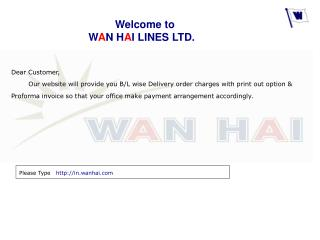 Welcome to  W A N H A I LINES LTD.