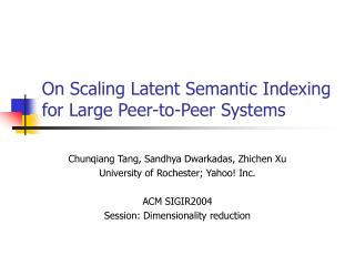 On Scaling Latent Semantic Indexing for Large Peer-to-Peer Systems