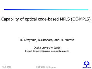Capability of optical code-based MPLS  (OC-MPLS)