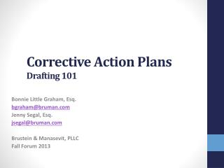 Corrective Action Plans Drafting 101