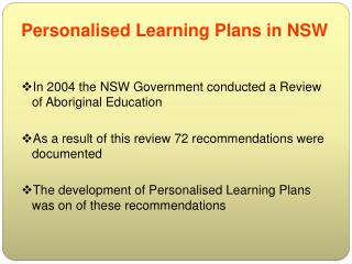 Personalised Learning Plans in NSW