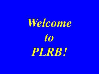 Welcome to PLRB!