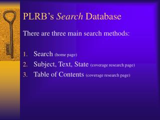 PLRB's  Search  Database