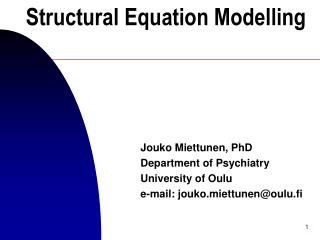 Structural Equation Modelling