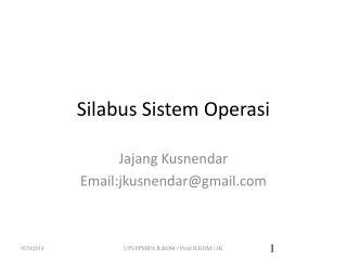 Silabus Sistem Operasi