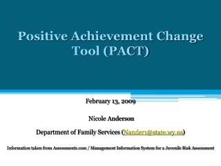 Positive Achievement Change Tool PACT