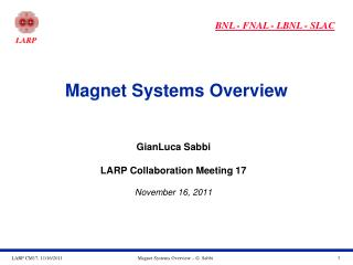 Magnet Systems Overview