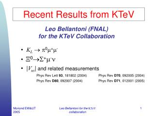 Recent Results from KTeV
