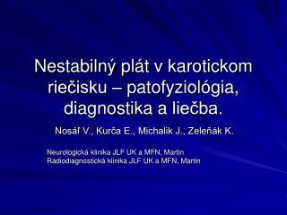 Nestabilný plát vkarotickom riečisku – patofyziológia, diagnostika aliečba.