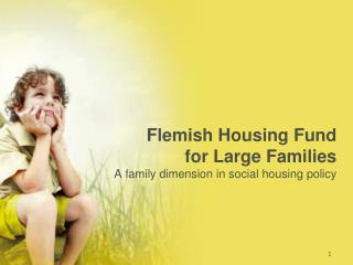 Flemish Housing Fund  for Large Families A family dimension in social housing policy