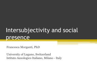 Intersubjectivity and social presence