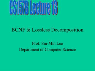 BCNF & Lossless Decomposition