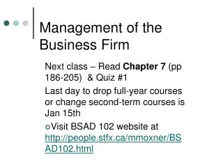 Management of the Business Firm