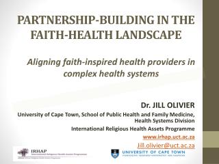 PARTNERSHIP-BUILDING IN THE FAITH-HEALTH LANDSCAPE