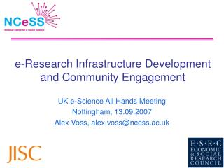 e-Research Infrastructure Development and Community Engagement