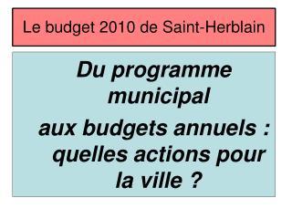 Le budget 2010 de Saint-Herblain