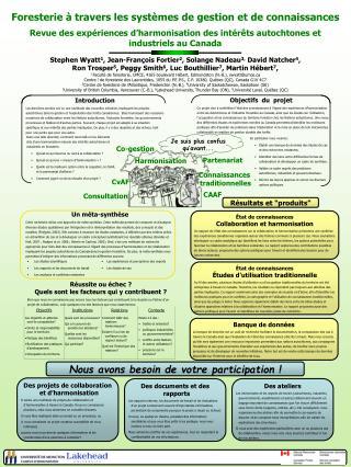 Foresterieà travers les systèmes de gestion et de connaissances