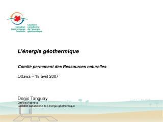 L'énergie géothermique Comité permanent des Ressources naturelles Ottawa – 18 avril 2007