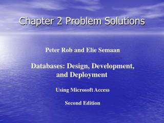 Chapter 2 Problem Solutions