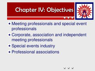 Chapter IV: Objectives