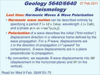 Geology 5640/6640 Seismology