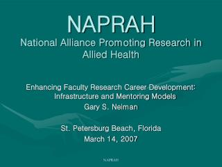 NAPRAH National Alliance Promoting Research in Allied Health