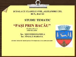 ŞCOALA CU CLASELE I-VIII ,,ALEXANDRU CEL BUN,, BACĂU STUDIU TEMATIC