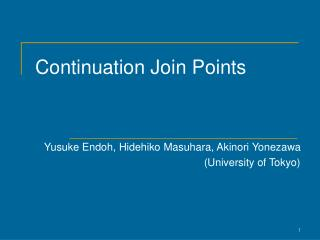 Continuation Join Points