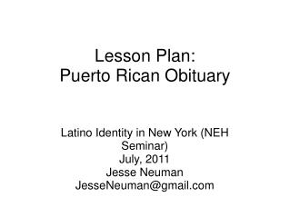 Lesson Plan: Puerto Rican Obituary