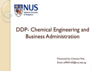 DDP- Chemical Engineering and Business Administration