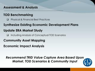 TOD Benchmarking  Physical & Financial Best Practices
