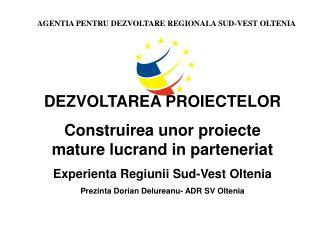 DEZVOLTAREA PROIECTELOR Construirea unor proiecte mature lucrand in parteneriat