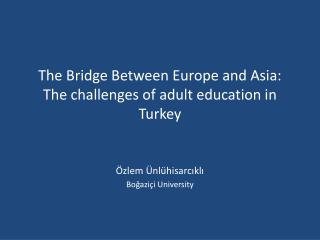 The Bridge Between Europe and Asia: The challenges of adult education in Turkey