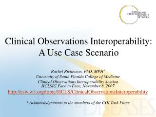 Clinical Observations Interoperability: A Use Case Scenario