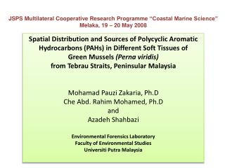 "JSPS Multilateral Cooperative Research  Programme  ""Coastal Marine Science"""