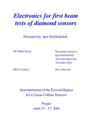Electronics for first beam tests of diamond sensors