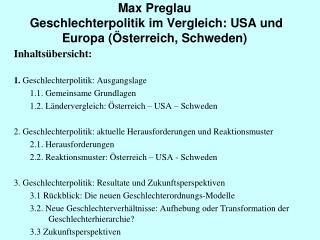 Max Preglau  Geschlechterpolitik im Vergleich: USA und Europa (Österreich, Schweden)
