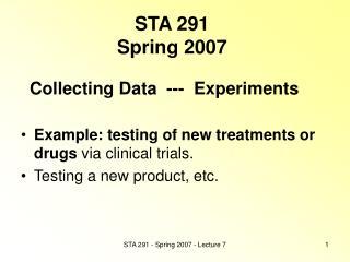 STA 291 Spring 2007