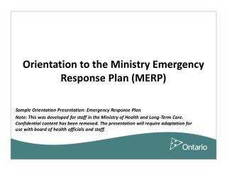Orientation to the Ministry Emergency Response Plan (MERP)