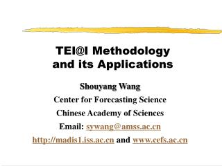 TEI@I Methodology and its Applications