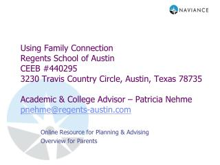 Online Resource for Planning & Advising Overview for Parents