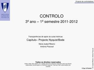 CONTROLO 3º ano – 1º semestre 2011-2012