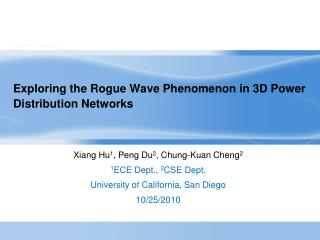 Exploring the Rogue Wave Phenomenon in 3D Power Distribution Networks