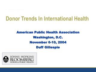 Donor Trends In International Health