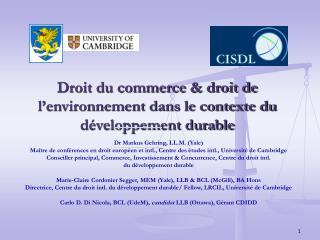 Droit du commerce & droit de l'environnement dans le contexte du développement durable